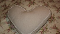Linen Heart shabby chic Cushion