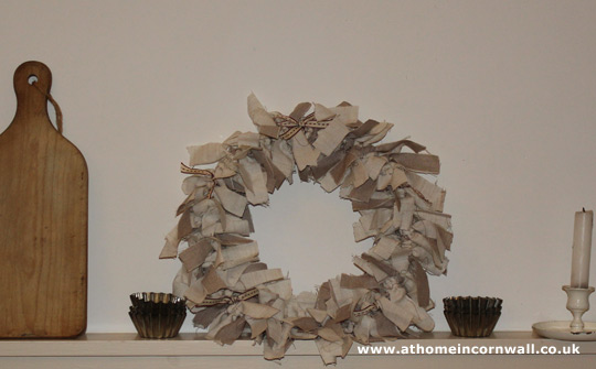 Fabric wreath – shabby chic style