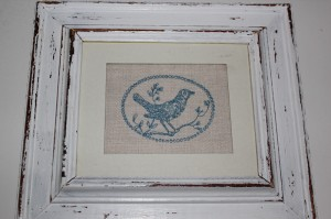 shabby chic bird picture painted 00196