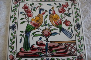 Shabby chic vintage bird tile 00437