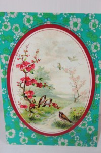 Shabby chic vintage bird picture postcard 00456