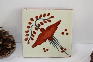 Shabby chic vintage bird tile 00462