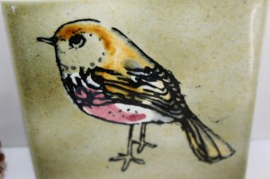 Shabby chic vintage bird tile 00466