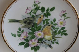 Shabby chic vintage plate birds 00516