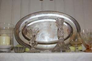 Shabby chic silverware and glass 00550
