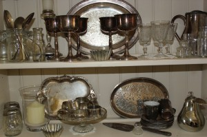 Shabby chic vintage silverware and glass 00551