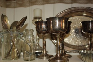 Shabby chic silverware and glass 00555
