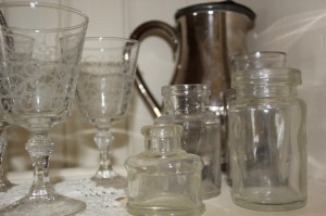 Shabby chic silver and glass bottles 00556