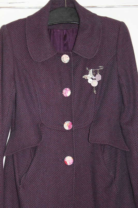Charity shop coat upcycled with DIY covered buttons
