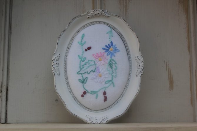 Framed Vintage Tablecloth